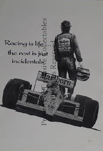Cartoon Ayrton Senna Racing is Life A3 Poster
