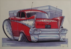 Cartoon 57 Chevy A3 Poster