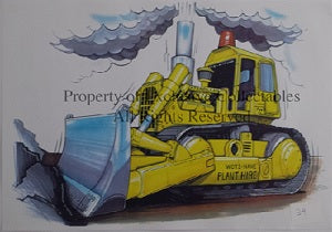 Cartoon Caterpillar Earth Mover A3 Poster