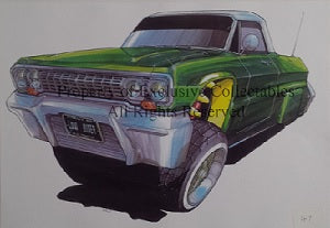 Cartoon Chevrolet Lowrider A3 Poster