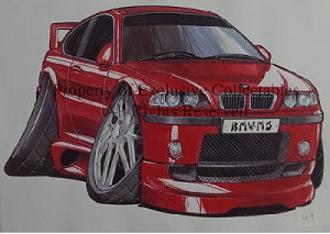 Cartoon BMW M3 A3 Poster