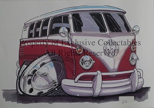 Cartoon Volkswagen VW Red BUS A3 Poster