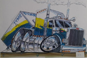 Cartoon Peterbilt Truck Poster
