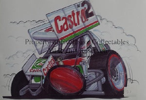 Cartoon Castrol Sprint Car A3 Poster