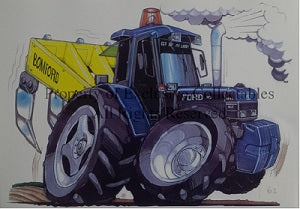 Cartoon Ford Bomford Superflow Plough Tractor A3 Poster