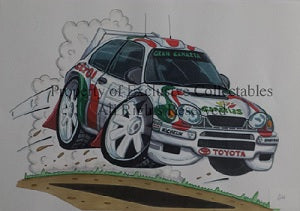 Cartoon Toyota Rally Car A3 Poster