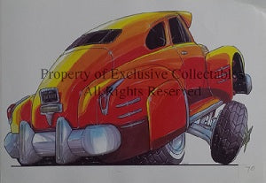 Cartoon 1942 Chevy Low Rider A3 Poster