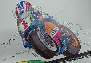 Cartoon Repsol Honda #1 Mick Doohan A3 Poster
