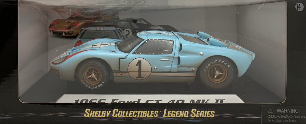 1:18 Ford Shelby 1966 GT40 MK II Gulf Blue #1 (Dirty Car)