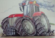 Cartoon Red Tractor A3 Poster