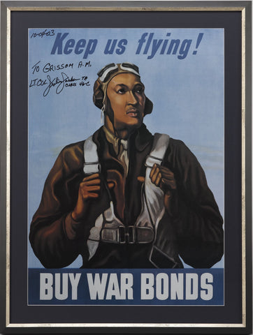 WWII War Bonds Poster Signed by Tuskegee Airman Lt. Col. Julius Jackson