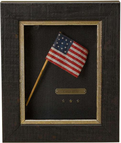 """Centennial Celebration"" 13-Star Flag Waver on Original Wooden Stick, Circa 1876 ($695)"