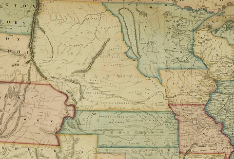 "This detail from Jacob Monk's New Map of that Portion of North America, published in late 1854, right after the passing of the Kansas-Nebraska Act, shows the newly organized ""Kanzas Territory"" and ""Territory of Nebraska."" Almost completely empty and beckoning new settlements, the most prominent details engraved in these new territories are the Platte River and Kansas River."