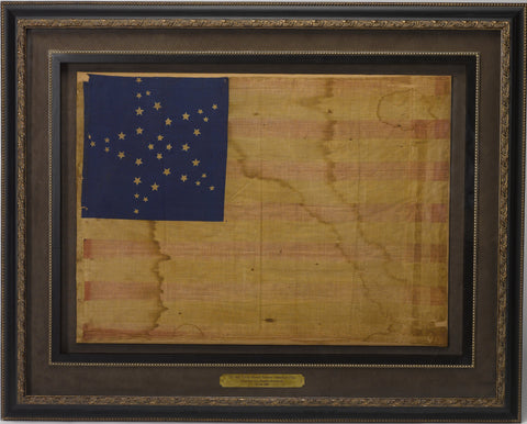 "34-Star Civil War Era Kansas Flag Great Star ""Flower"" Pattern, Circa 1861"