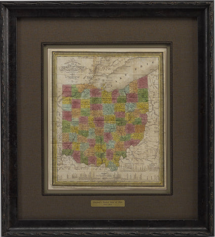 """1839 Mitchell's """"A Tourist's Pocket Map of the State of Ohio Exhibiting its Internal Improvements Roads Distances &c."""" by J.H. Young"""