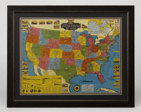 1943 Stanley Turner Pictorial Map of the United States During WWII