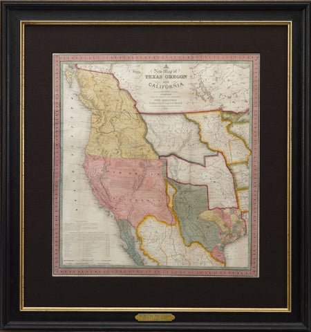1846 A New Map of Texas, Oregon and California with the Regions Adjoining by S. Augustus Mitchell
