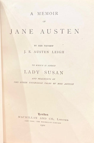 Title page to A Memoir of Jane Austen, by Her Nephew J. E. Austen Leigh.
