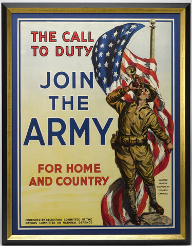 The Call to Duty, Join the Army, For Home and Country Vintage WWI Poster