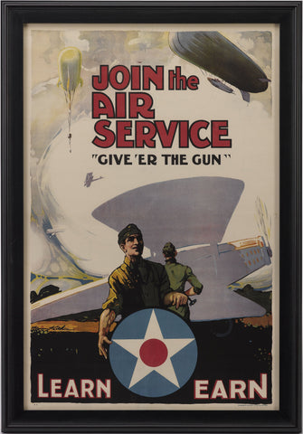 """Join the Air Service / Give 'Er The Gun"" Vintage WWI Poster by Warren Keith, 1918"