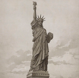 Liberty Enlightening the World, 1883, Antique Lithograph detail