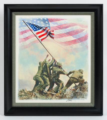 Flag Raised at Iwo Jima Original Painting by Dennis Lyall