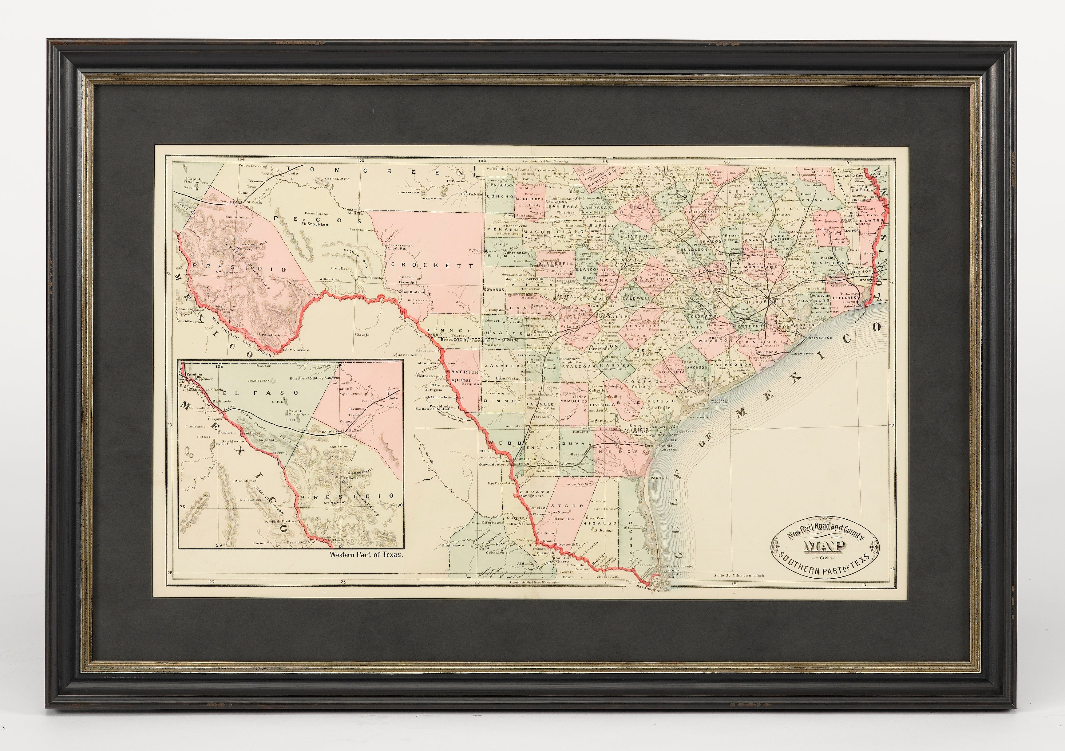 Map Of Texas Railroads.New Rail Road And County Map Of The Southern Part Of Texas By George Cram Circa 1882