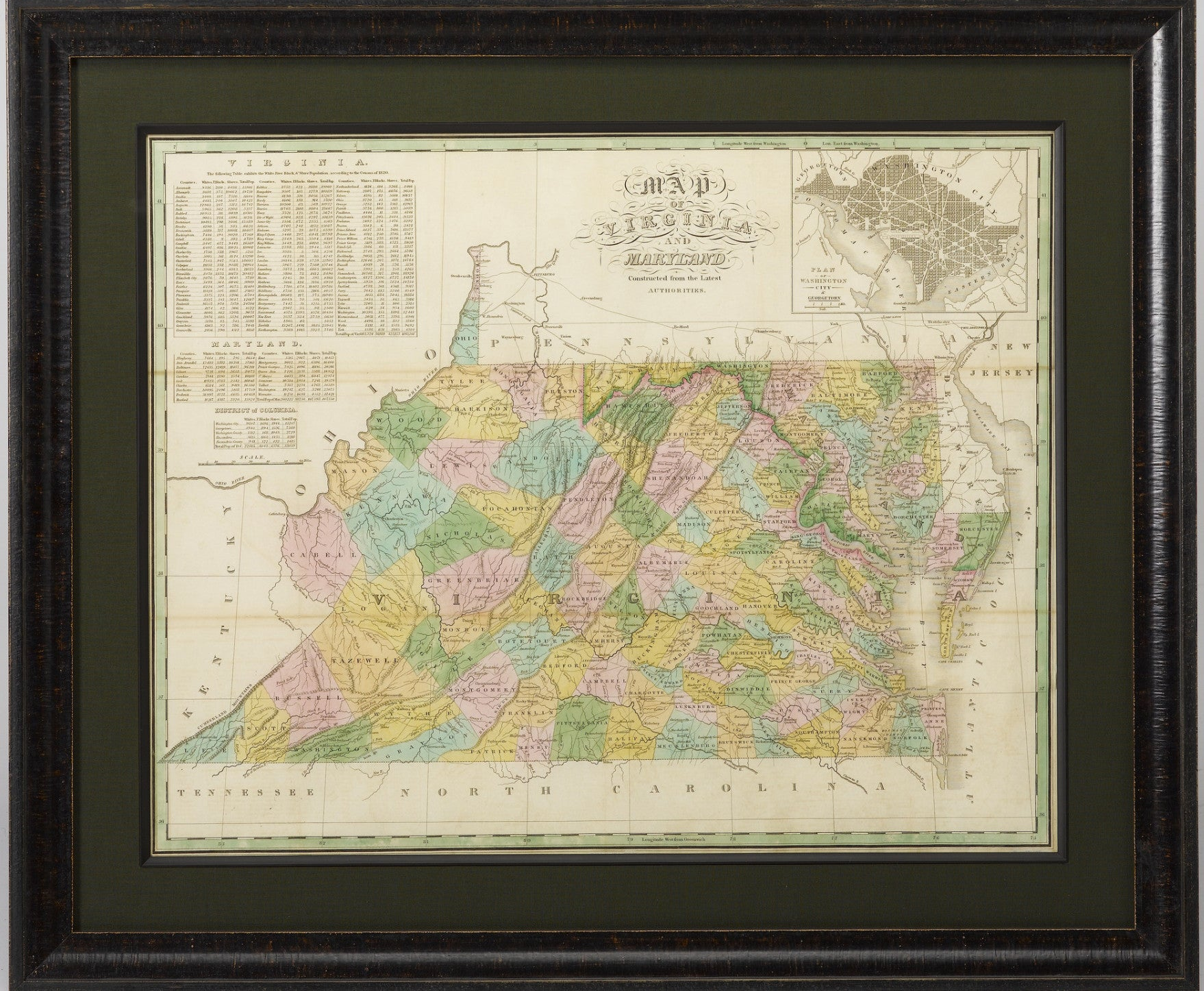 1829 Map Of Virginia And Maryland By Anthony Finley The Great Republic