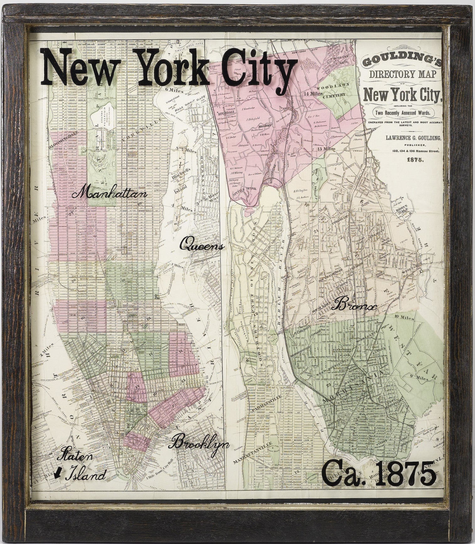 1875 New York City Map with Surrounding Burroughs in Antique