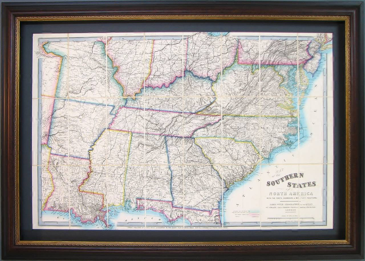 Map Of America In 1861.1861 Map Of The Southern States Of North America By James Wyld The