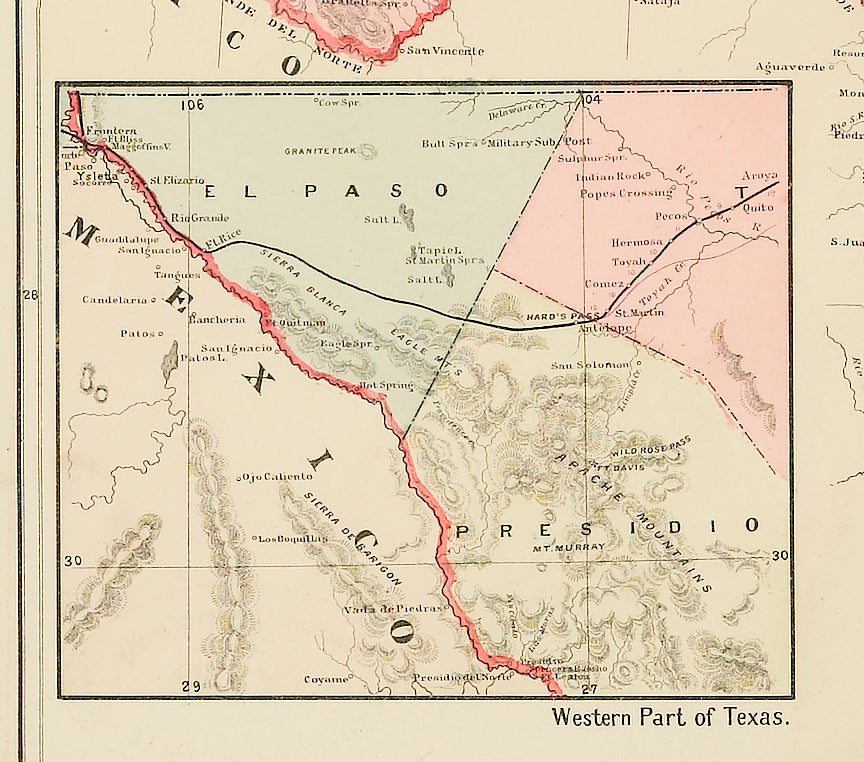 New Map Of Texas.New Rail Road And County Map Of The Southern Part Of Texas By George Cram Circa 1882