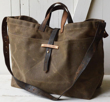 a8720530d97 Waxed Canvas Tote -- Handcrafted American Leather and Canvas Tote Bag