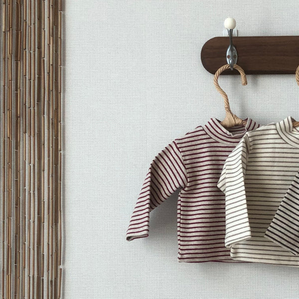 Lala - Half Turtle Neck Top - Red Stripe