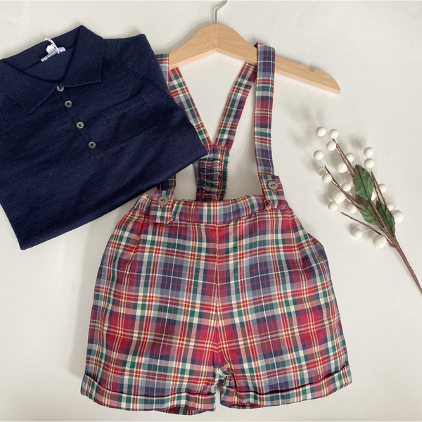 Wedoble - Tartan Shorts & Braces Set (Navy Polo)