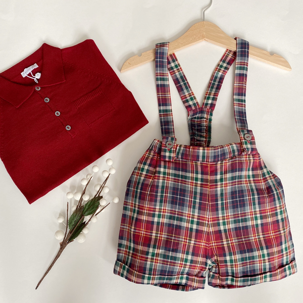 Wedoble - Tartan Shorts & Braces Set (Burgundy Polo)