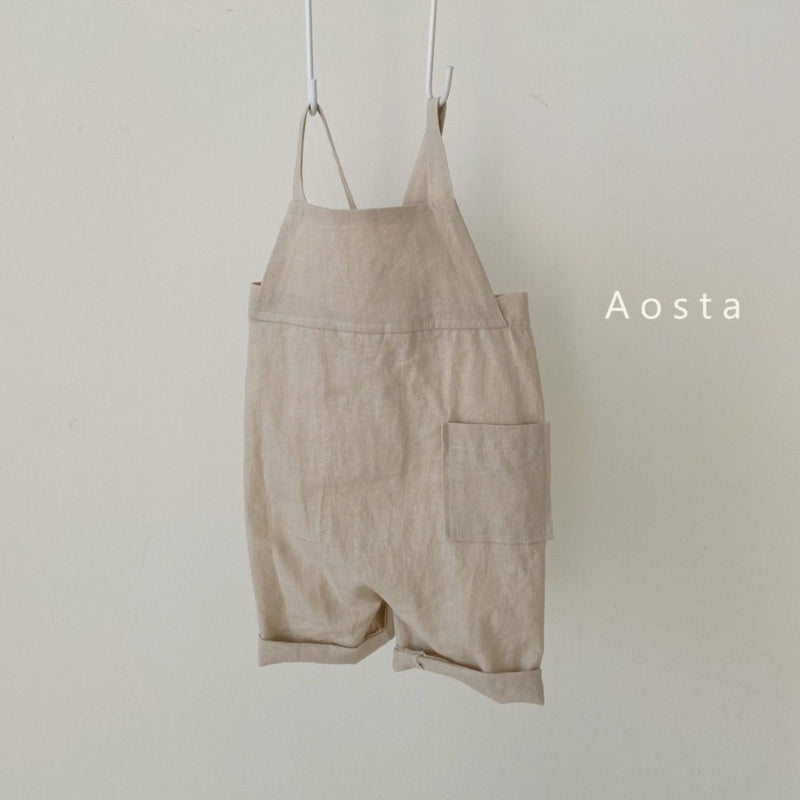 Aosta - Cotton Dungaree Overalls - Beige