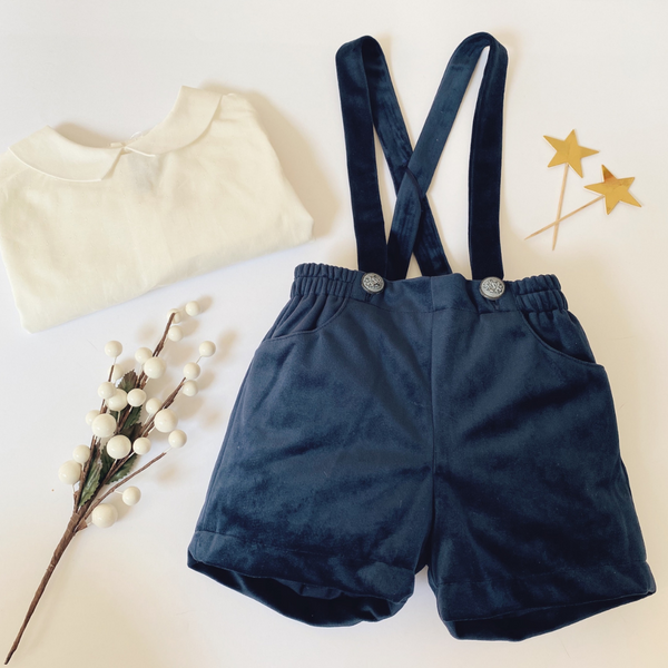 Fina Ejerique - Velvet Shorts & Braces Outfit (Navy)