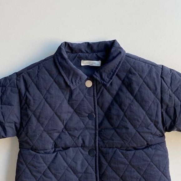 OOTT Bebe - Quilted Button-up Coat - Navy