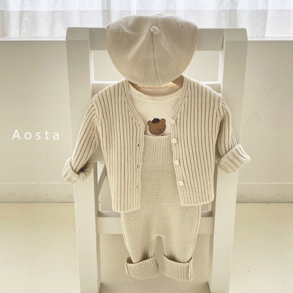 Aosta - Little Knit Overalls - Ivory