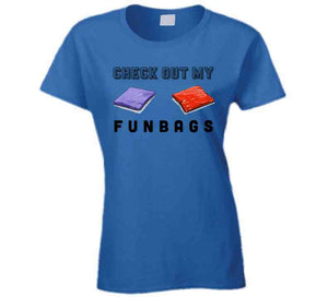 Check Out My Fun Bags Funny Cornhole Ladies T Shirt