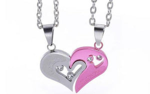 couples heart necklace sets