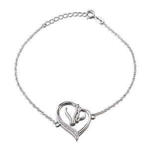 925 Sterling silver heart & horse heads bracelet-Couple Jewellery