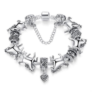 Silver horse charm bracelet-Couple Jewellery