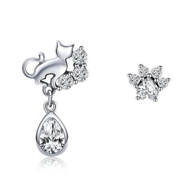 Sterling silver cubic zirconia cat stud earrings