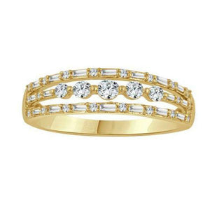 3 layered diamond channel yellow gold ring-Couple Jewellery