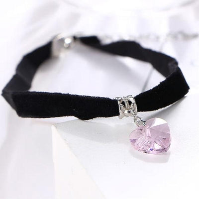 Choker velvet crystal heart necklaces-Couple Jewellery