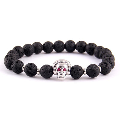 Red and gold music skull charm beaded bracelet-Couple Jewellery