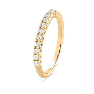 Half diamond eternity band Yellow gold ring-Couple Jewellery