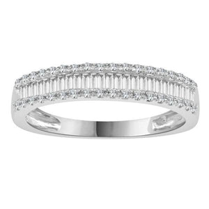 layered diamond channel white gold ring-Couple Jewellery