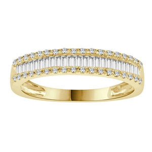 Baguette Diamond yellow gold ring-Couple Jewellery